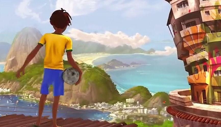 Menino com uniforme da seleção brasileira observa Rio de Janeiro do alto