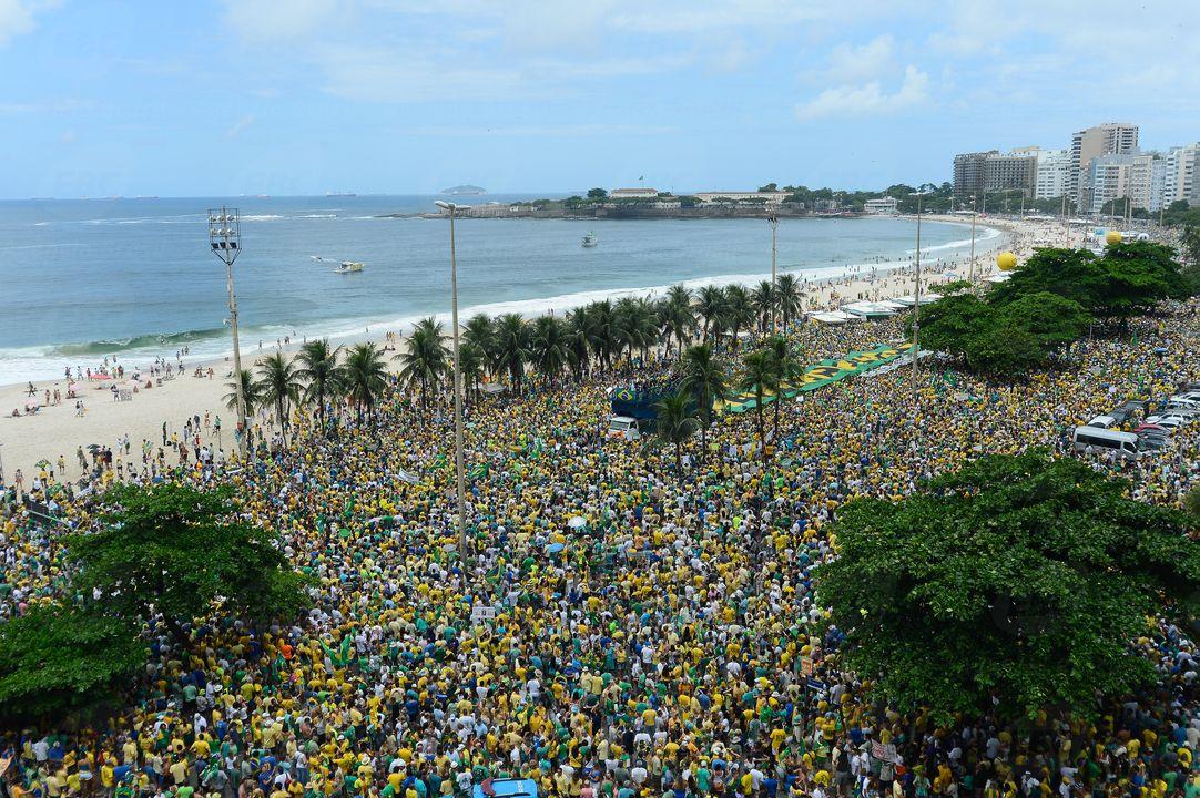 Manifestação contra a corrupção, em Copacabana