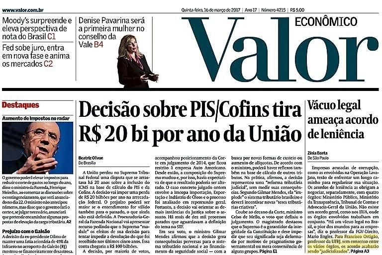 Capa do jornal Valor Econômico